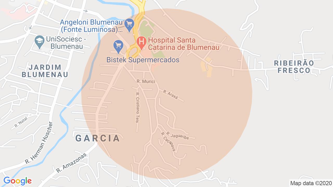 Localização Casa 3 dormitórios Garcia - Blumenau, SC