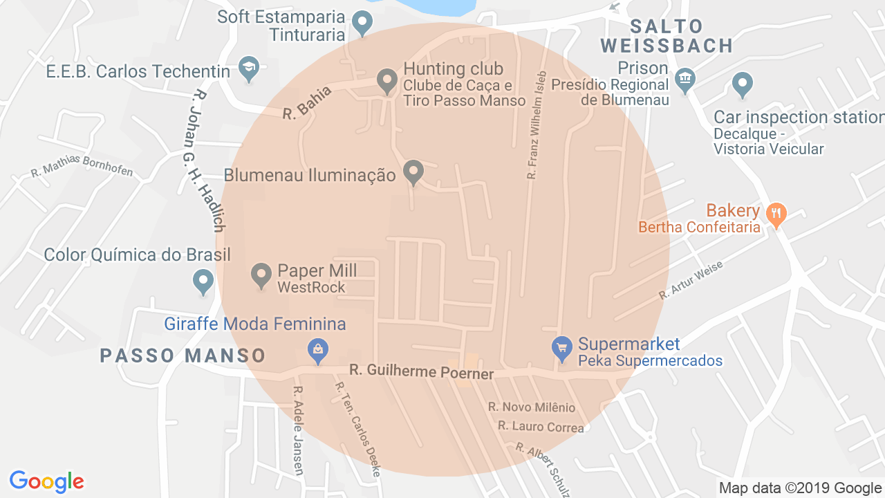 Localização Apartamento 2 dormitórios Passo Manso - Blumenau, SC