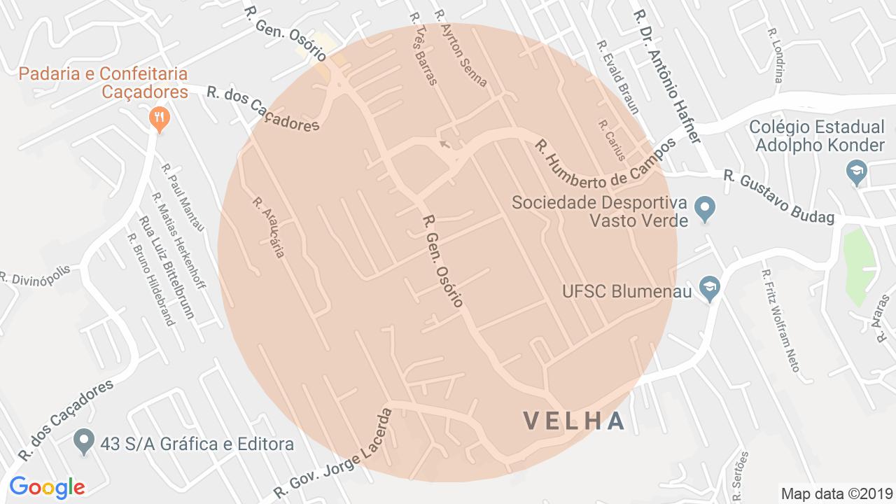 Localização Casa 3 dormitórios Velha - Blumenau, SC