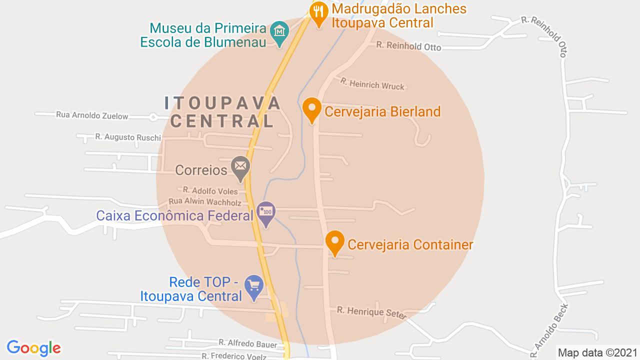 Localização Apartamento 2 dormitórios Itoupava Central - Blumenau, SC