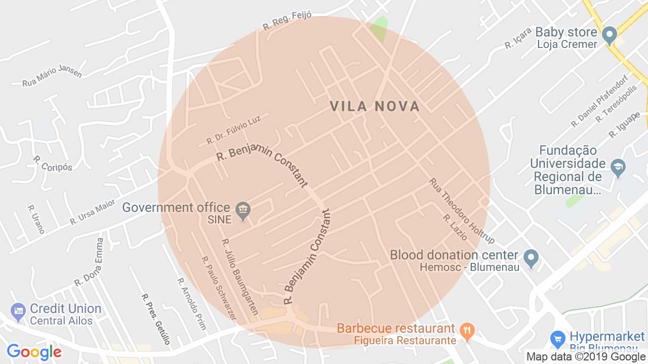 Localização Apartamento 3 dormitórios Vila Nova - Blumenau, SC