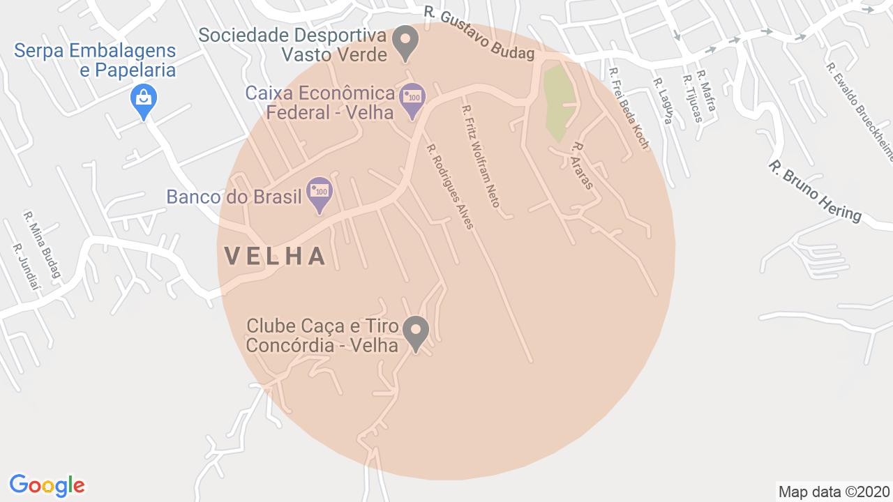 Localização Apartamento 3 dormitórios Velha - Blumenau, SC