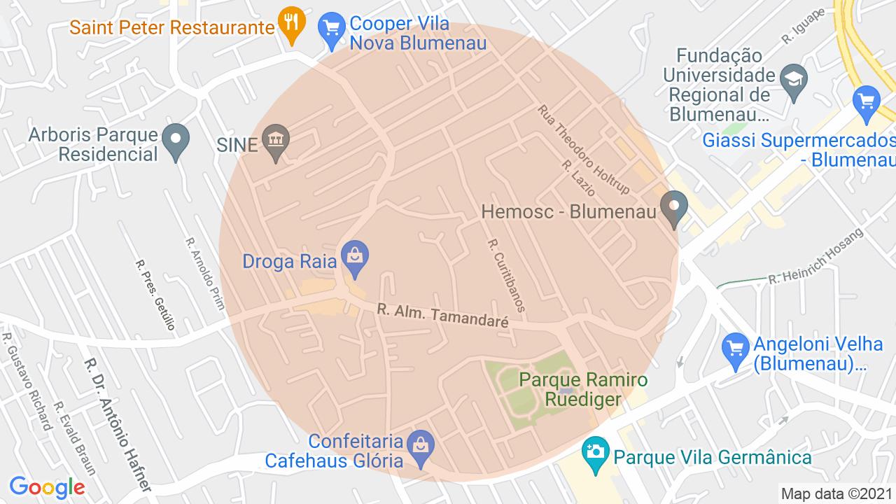 Localização Casa 3 dormitórios Vila Nova - Blumenau, SC