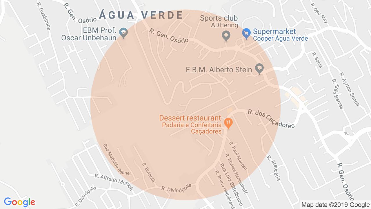 Localização Apartamento 3 dormitórios Água Verde - Blumenau, SC