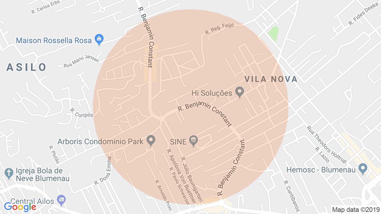 Localização Apartamento 2 dormitórios Vila Nova - Blumenau, SC