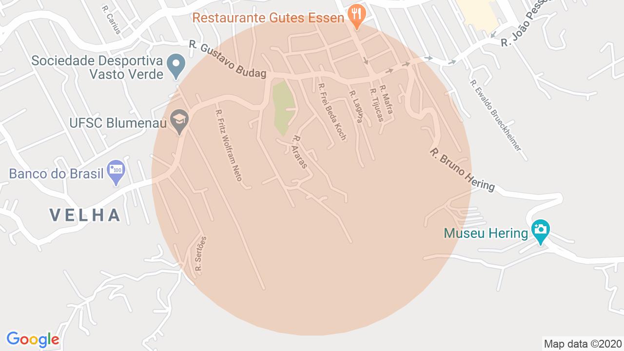 Localização Sobrado 2 dormitórios Velha - Blumenau, SC
