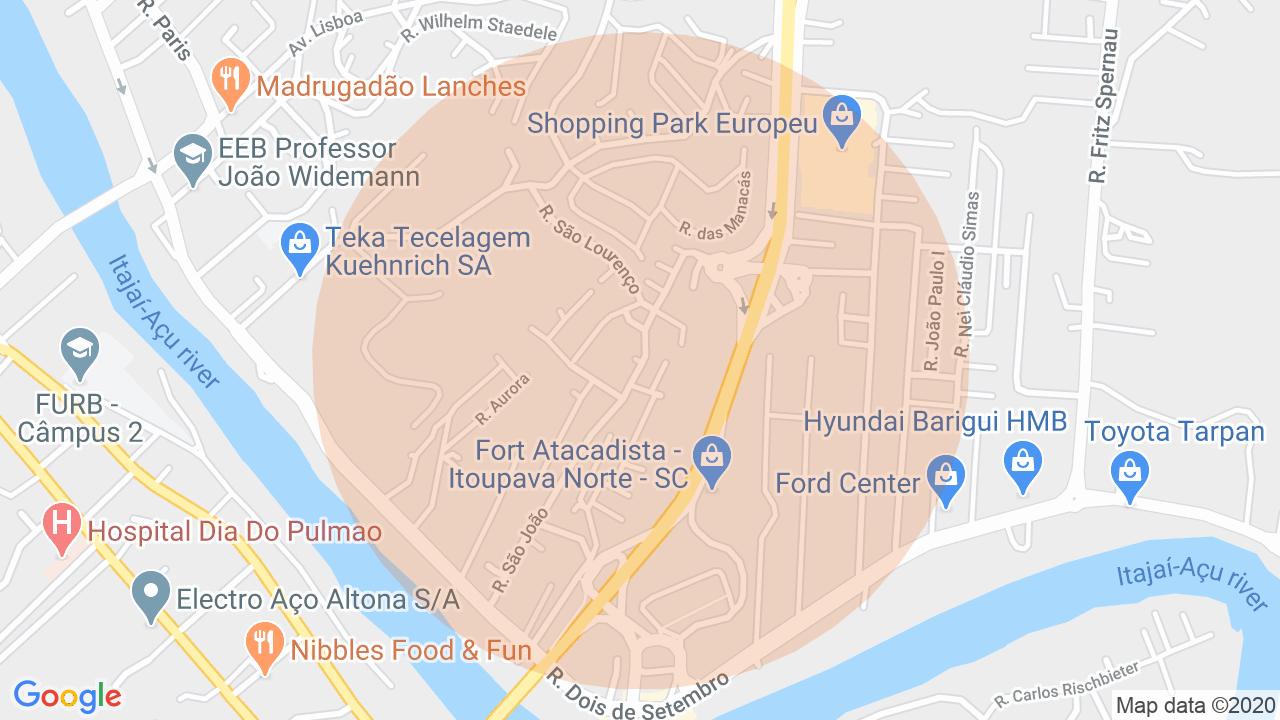 Localização Sobrado 3 dormitórios Itoupava Norte - Blumenau, SC