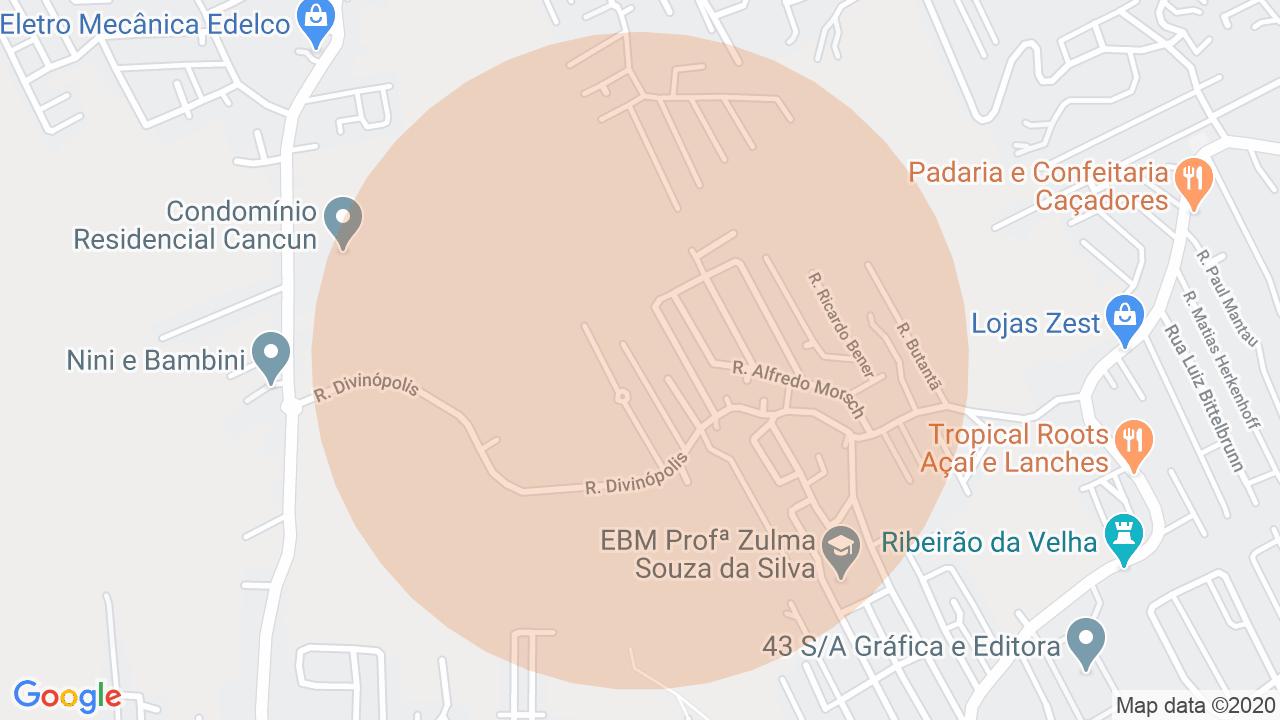 Localização Casa 3 dormitórios Velha Central - Blumenau, SC