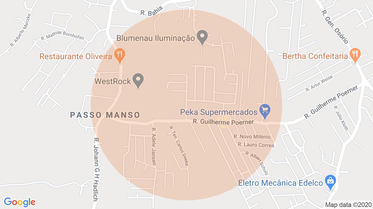 Localização Sobrado 2 dormitórios Passo Manso - Blumenau, SC