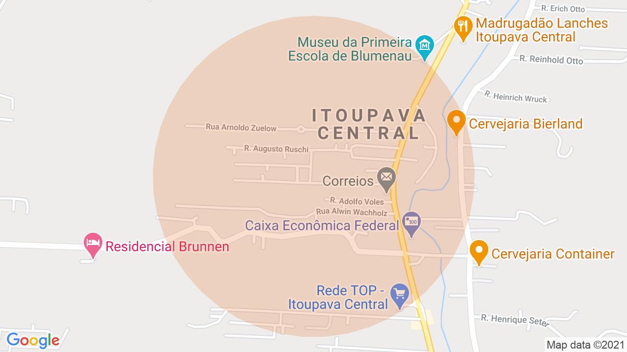 Localização Sobrado 2 dormitórios Itoupava Central - Blumenau, SC