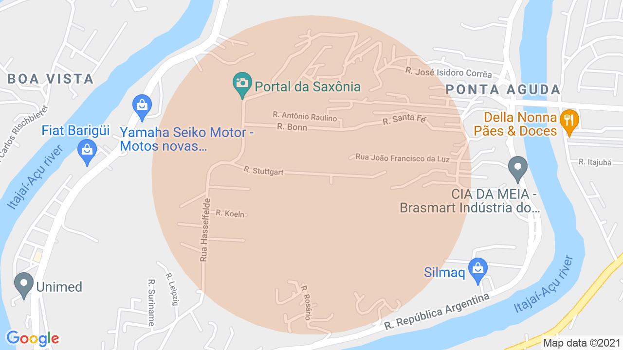 Localização Casa 4 dormitórios Ponta Aguda - Blumenau, SC
