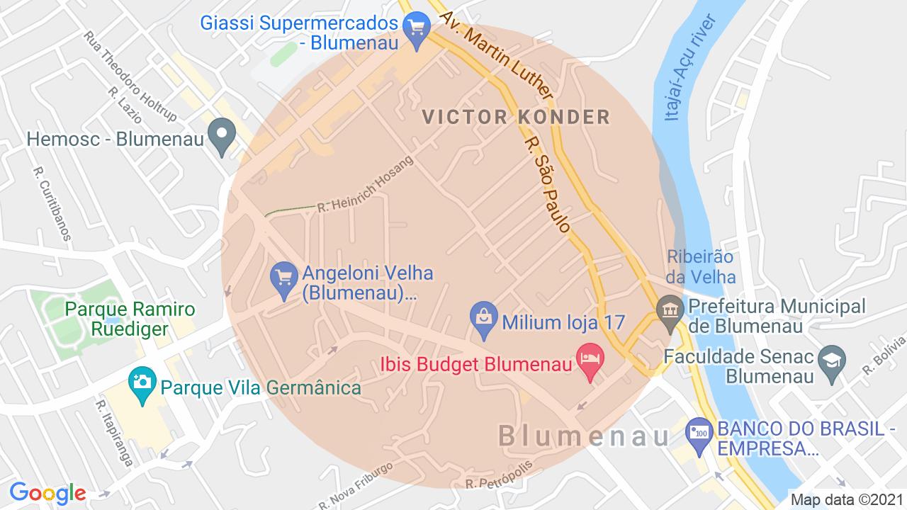Localização Apartamento 1 dormitório Victor Konder - Blumenau, SC