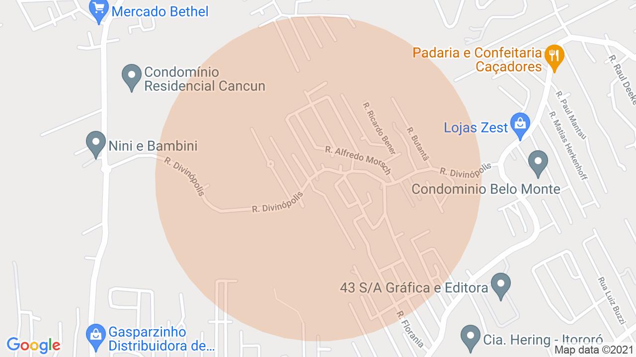 Localização Apartamento 2 dormitórios Velha Central - Blumenau, SC