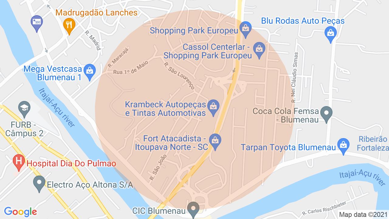 Localização Sobrado 2 dormitórios Itoupava Norte - Blumenau, SC