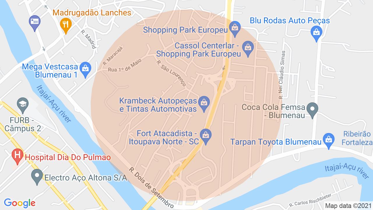 Localização Lote/Terreno Itoupava Norte - Blumenau, SC