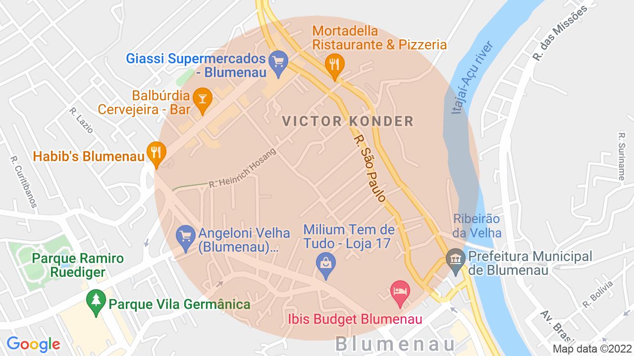 Localização Apartamento 3 dormitórios Victor Konder - Blumenau, SC